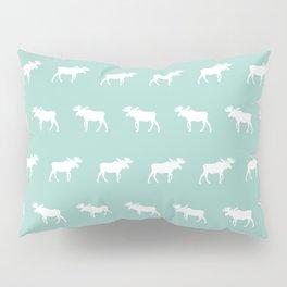 Camper moose pattern minimal nursery basic mint white camping cabin chalet decor Pillow Sham