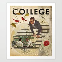college Art Prints featuring Welcome to... College by Heather Landis