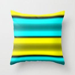Yellow & Cyan Horizontal Stripes Throw Pillow