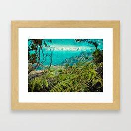 Hawaii Art, Vintage Kalalau Valley, Kauai, Na'Pali Coast Framed Art Print