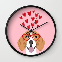 Beagle head love hearts valentines day dog breed must have gifts Wall Clock