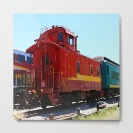 Red Fright Train Caboose Metal Print