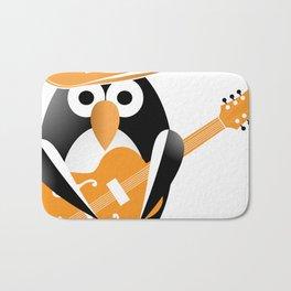 Funny penguin with guitar Bath Mat