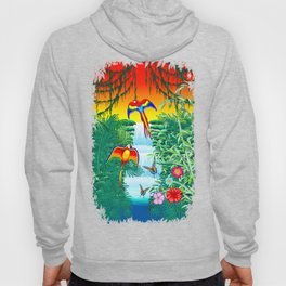 Waterfall Macaws and Butterflies on Exotic Landscape in the Jungle Naif Style Hoody