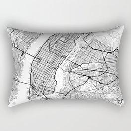New York City Neutral Map Art Print Rectangular Pillow