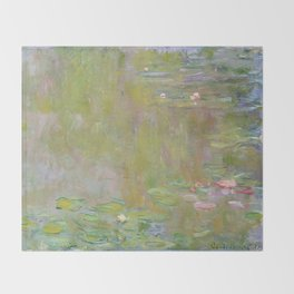 Water Lily Pond by Claude Monet Throw Blanket