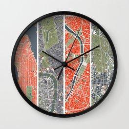 Six cities: NYC London Paris Berlin Rome Seville Wall Clock