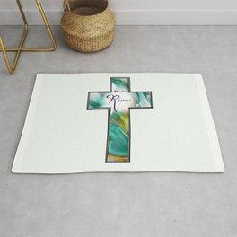 He is Risen Cross Rug