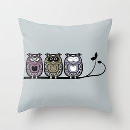 3 little owls Throw Pillow