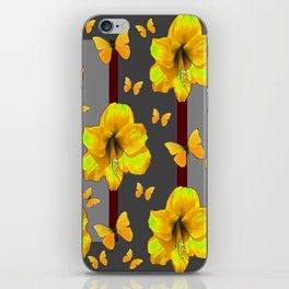 """AMARYLLIS """"FOR THE LOVE OF BUTTERFLIES"""" GREY ART iPhone Skin"""