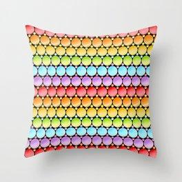 Rainbow Dotty Stripes Throw Pillow