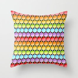 Rainbow Dotty Stripes Throw Pillow