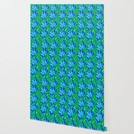 Cannabis Print Green and Blue Wallpaper