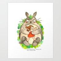 miyazaki Art Prints featuring Miyazaki Hug by Super Group Hugs