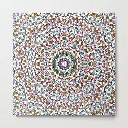 Plaid Modern Art Mandala Pattern Metal Print