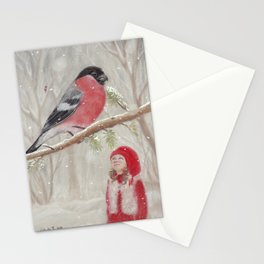 Bullfinch and Gnome-girl - Christmas Stationery Cards