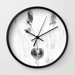 Black and White Cherry Wall Clock
