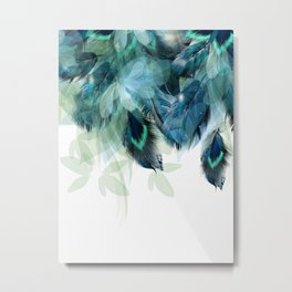 DREAMY FEATHERS & LEAVES Metal Print