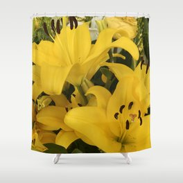 Bright Yellow Lilies From A Tropical Garden Shower Curtain