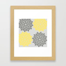Big Grey and Yellow Flowers Framed Art Print
