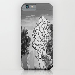 Alpinia purpurata – Red Ginger Flower - Black and White Greyscale iPhone Case