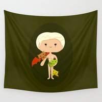 dragons Wall Tapestries featuring Dragons' Mother by Sombras Blancas Art & Design