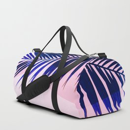 Indigo Palm Leaves on Pink Pastel Geometry #tropical #decor #lifestyle Duffle Bag