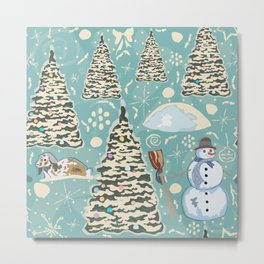 Winter Seamless Pattern with bunnies, spruce trees and snowman Metal Print
