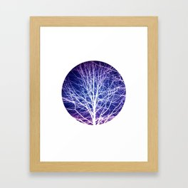 Surreal nature photography of a bare tree in purple and blue Framed Art Print