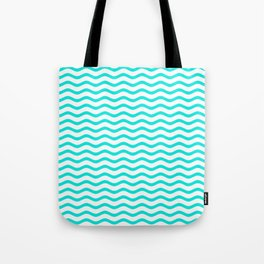 Bright Turquoise and White Chevron Wave Tote Bag