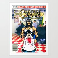conan Art Prints featuring CONAN THE BARBERER by i live