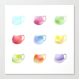 Colorful watercolor cups Canvas Print