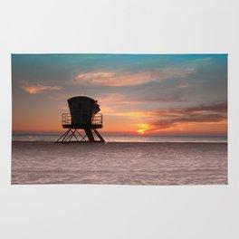 Beach Sunrise with LifeGuard Hut Rug