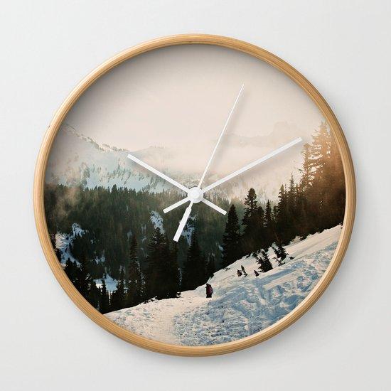 Winter Mountain Hike Wall Clock