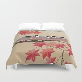 Java Sparrows in Japanese Maple Tree Duvet Cover