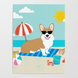 Corgi Summer Beach Day Sandcastles Dog Art Poster