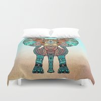 mint Duvet Covers featuring ElePHANT by Monika Strigel