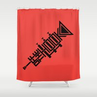 hook Shower Curtains featuring Off the Hook by Hinterlund