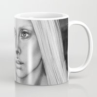 versace Mugs featuring VERSACE - drawing by Davy Oldenburg by Davy Oldenburg