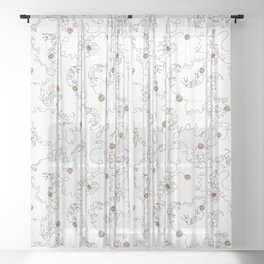 Cats Love Yarn Abstract Minimalist Doodle Sheer Curtain