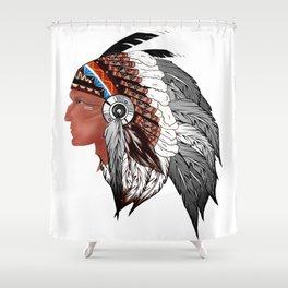 Tribal,American Indian man,indigenous art  Shower Curtain