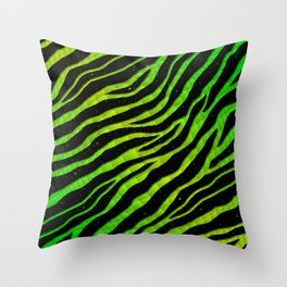 Ripped SpaceTime Stripes - Green/Lime Throw Pillow