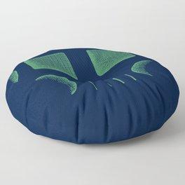 Skull Linework (Green / Dark Blue) Floor Pillow