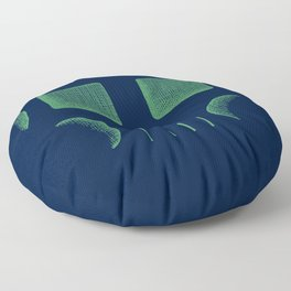 Skull Linework (Green / Dark Blue) Floor Pillow