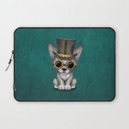 Steampunk Baby Wolf Cub on Blue Laptop Sleeve