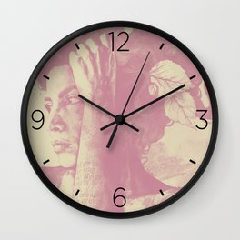 Beneath Broken Earth: Pink Shadow (lady portrait with autumn leaves) Wall Clock