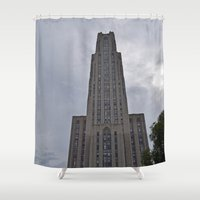 brad pitt Shower Curtains featuring Pittsburgh Tour Series - Cathedral of Learning at PITT by Sarah Shanely Photography