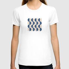 Navy and Tan Half moon, Cross and Stripes design T-shirt