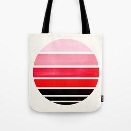 Red Mid Century Modern Minimalist Circle Round Photo Staggered Sunset Geometric Stripe Design Tote Bag