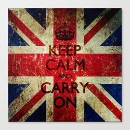 Square Keep Calm and Carry On Grunge Union Jack Canvas Print